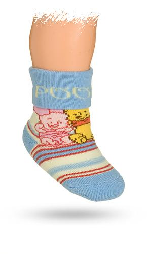 KREBO Froté ponožky DISNEY vzor MEDVÍDEK PÚ Velikost: 15-17